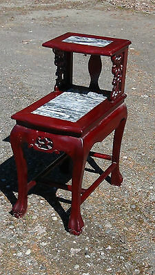 Early 20C Chinese Mahogany Table With Inset Marble Surface Pierced Decor