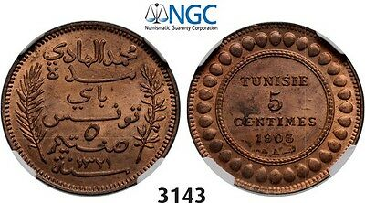 PegasusAuctions_com: 3143. Tunisia, 5 Centimes AH1321 (1903) A, NGC MS64RB