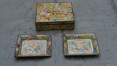 Antique Chinese  3 Pieces Cloisonne Enamel Smoke Set