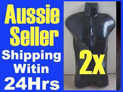 2 Black Male NEW MANNEQUIN Display TORSO GLOSSY  Model
