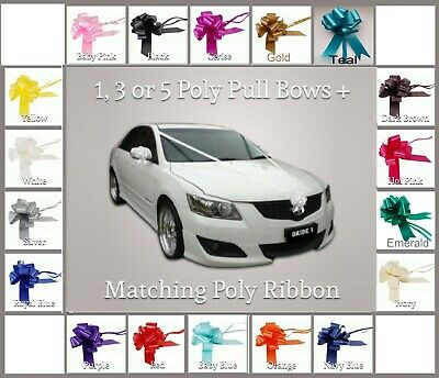 Wedding Car Kit 1, 3, or 5 Large 50mm Pull Bow & 6 Metres Ribbon  - 26 Colours