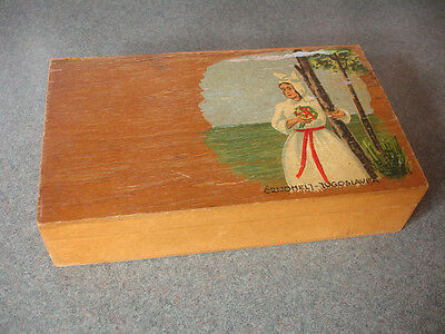 Old Vtg Antique Decorative Yugoslavia Wood Trinket Jewelry Box w/Woman on Top