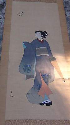 Antique 19C Japan Watercolor Original Painting On Paper Scroll Signed By Autor