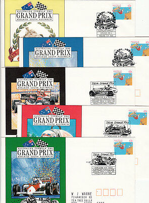 Stamps Australia Grand Prix 1990 set of 5 covers commemorative postmarks 4 days