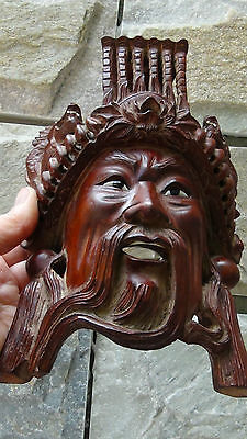 ANTIQUE 19C CHINESE ROSEWOOD HAND CARVED MASK OF IMPEROR WITH THE DRAGONS  #2