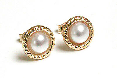 9ct Gold Pearl Button Stud earrings Gift Boxed Made in UK
