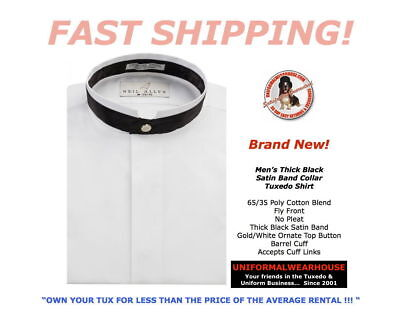 MENS White Thick BLACK SATIN BAND Collar Fly Front Tuxedo Shirt New ALL SIZES
