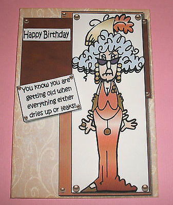 Handmade Greeting Card 3D Birthday Humorous With An Old Lady