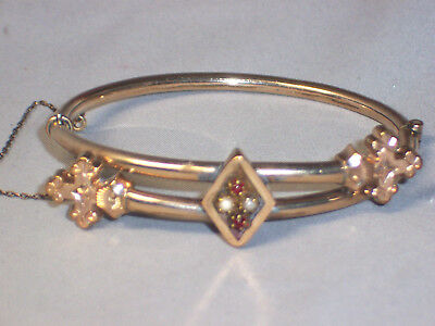 Antique Victorian Gold Filled Hinged Bangle Bracelet With Garnets & Seed Pearls