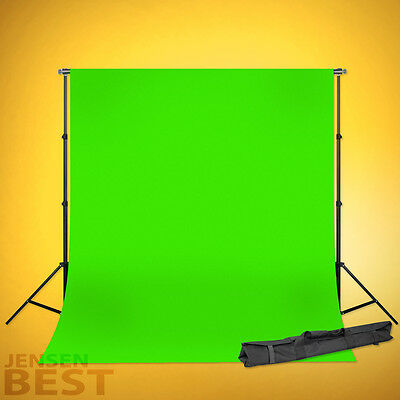 JensenBest Chroma-Key Green Screen Backdrop Support System With 6 x 9ft  Muslin