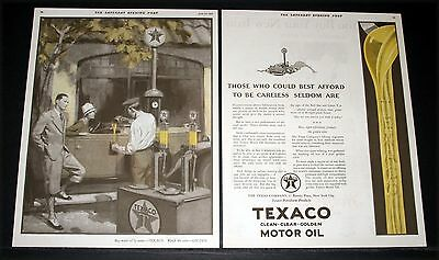1927 Old Magazine Print Ad, Texaco, Clean, Clear Golden Motor Oil, Red Star Art!