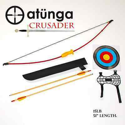 NEW Kids CRUSADER 15lb LRG Longbow Archery Set Target Atunga Bow sport medieval