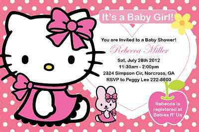 HELLO KITTY GIRL Birthday party or Baby Shower Custom Invitation Print your own