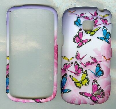 PINK ROSE BUTTERFLIES RUBBERIZED Samsung Illusion SCH-i110 cover protector case