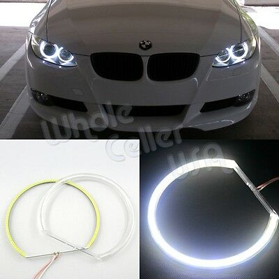 4x HID Style White COB 90 LED Angel Eye Halo Ring Light For BMW E46 E39 E38
