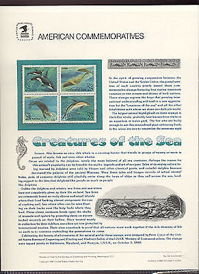 #2508-2511 25c Creatures of the Sea USPS #357 Commemorative Stamp Panel