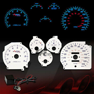 Black 86-92 Supra NA Non-Turbo White Indiglo Glow Gauge