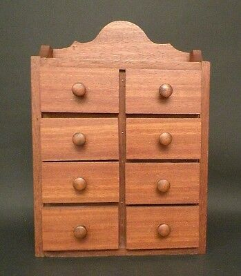 Antique Hand Made Spice Apothocary Chest Box 8 Drawers