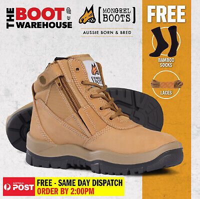 Mongrel 261050 Work Boots. Steel Toe Safety.  Wheat Zip-Sider,  PRESS STUD CLIP!