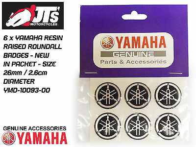 YAMAHA TANK / PANEL RAISED RESIN STICKERS / ROUNDELS / ROUNDEL / BADGES  x6 26mm