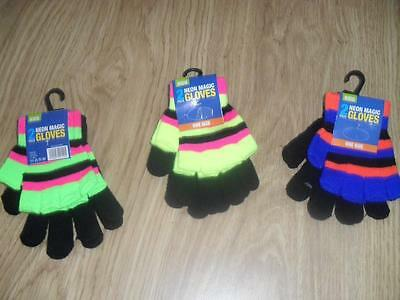 BNWT Boys 2 pack of neon magic gloves one size