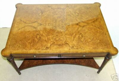 Walnut Burr Coffee / Cocktail Table with Drawers Inlaid