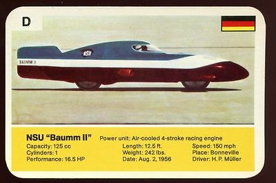 "NSU ""baumm II"" - World Record Holder - Top Trumps Card #AQ"