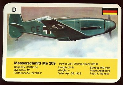 Messerschmitt Me 209 - World Record Holder - Top Trumps Card #AQ