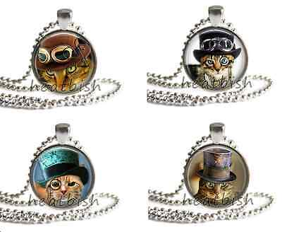 STEAMPUNK Cats Glass Round Circle Photo Pendant Charm Accessory Industrial Cute