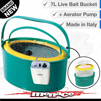 3in1 LIVE BAIT BUCKET & Free Aerator Pump - 7L - 120+ hrs run time - 2 speed