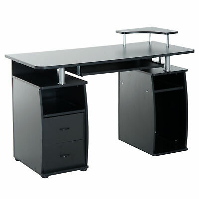 HOMCOM Computer Table 2 Drawer PC Desk Stand Home Office Workstation