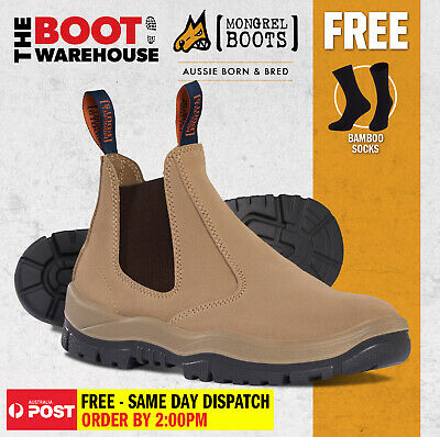 Mongrel 916040 Work Boots. Non Safety Elastic Sided Wheat Suede. Brand New