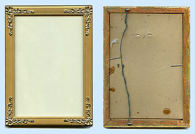 Original Antique  Wood Picture Frame With Brass Decorative Corners