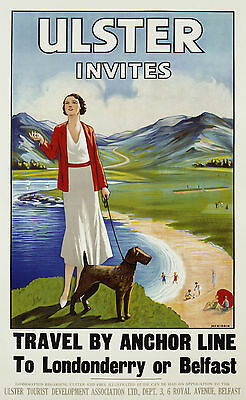 Vintage Advertising travel poster A4 REPRINT Come to Ulster travel by Anchor