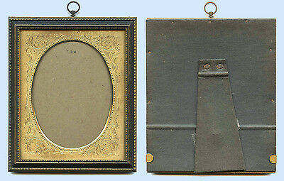 Original Antique  Wood Picture Frame With Brass Decorative Mat