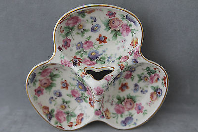 """Vintage """"cheery Chintz"""" 3 Section China Server  Czechoslovakia  Floral Design"""