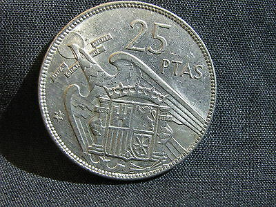 "Spain 1957 Star ( 64 ) 25 ""ptas"" Pesetas Espana Rare Coin Number 64 In The Star"