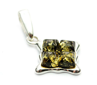 Lovely 925 Sterling Silver & Baltic Amber Designer Pendant AA209