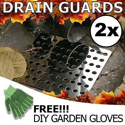 """2x Swirl Drain Guard  6""""/15cm Square Rustproof Stainless Steel Cover Plate Grate"""