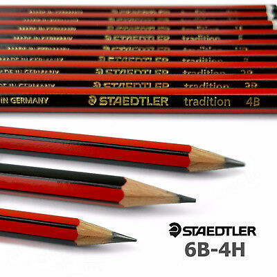 12 x Staedtler Tradition Pencils Sketching - 6B 5B 4B 3B 2B B HB F H 2H 3H 4H