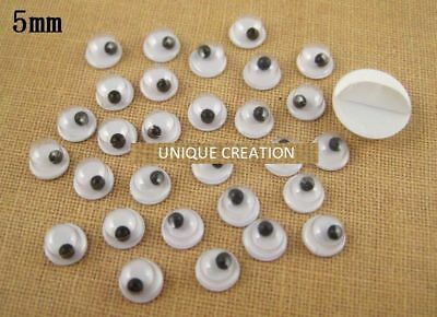 5mm x 100 Joggle Eye Wiggly Googly Stick on Eyes kids craft scrapbooking bulk