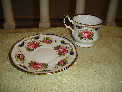 Queen's Rosina China Co Teacup & Saucer-Balmoral-Fine Bone China Made In England