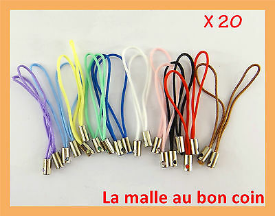 LOT DE 20 ATTACHES CORDON DRAGONNE 10 COULEURS ASSORTIES POUR TÉLÉPHONE-acd007