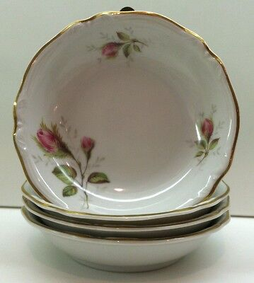 Hutschenreuther China MOSS ROSE (2505) 4 Fruit Bowls EXCELLENT CONDITION
