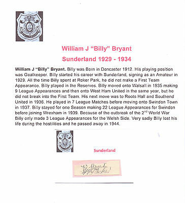 Billy Bryant Sunderland 1929-1934 Very Rare Original Hand Signed Cutting/Card