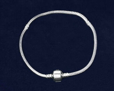 Lot of 12 Threaded Snake Chain Silver Bracelets - 7.5 inches