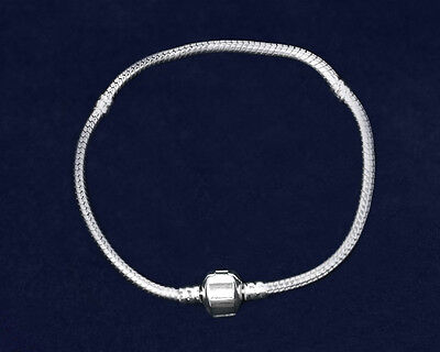Lot of 12 Threaded Snake Chain Silver Bracelets - 8 inches