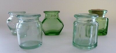 5 Small Depression Glass Green Bottles