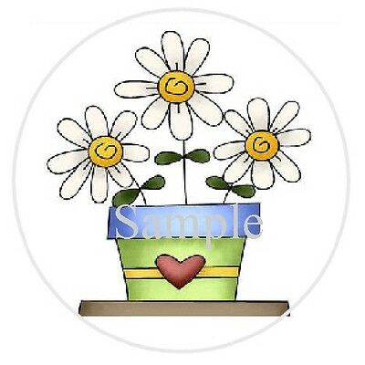 """Three Flowers In A Pot #27 - 1""""  Sticker / Seal Labels"""