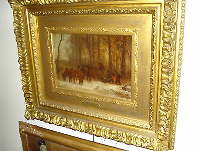 """19th Century Oil On Canvas Signed John Henry Dolph, """"Horses In A Winter Setting"""""""